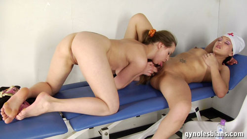 Gyno lesbian sex doctor getting licked and fingered by a nude babe