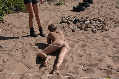 Outdoor naked army crawling