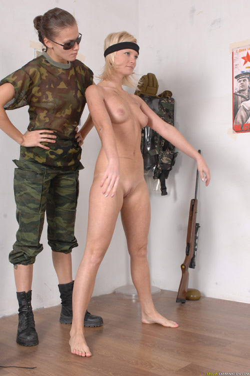 Exercising nude army girl and her lesbian sergeant