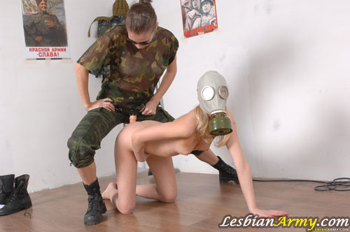 Gas-masked nude military girl strapon-fucked