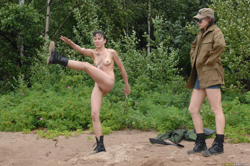 Alternate leg lifts at military nude training