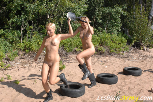 Team nude army obstacle race with a digger