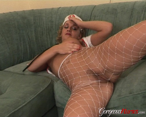 Slutty nurse Iva in white fishnet pantyhose