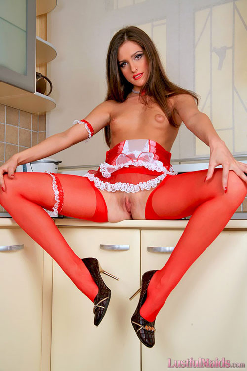 Hot French maid in red spreads legs in pantyhose