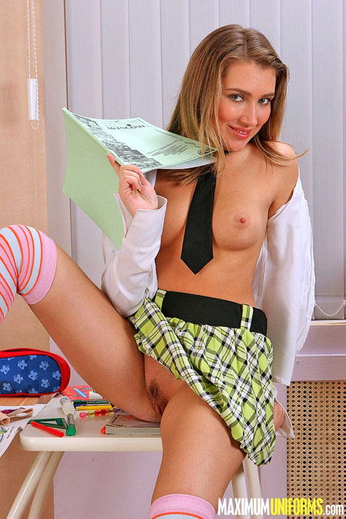 Teen nude pussy of a topless naughty schoolgirl