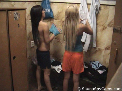 Gym changeroom spy cam catches two sexy sports babes