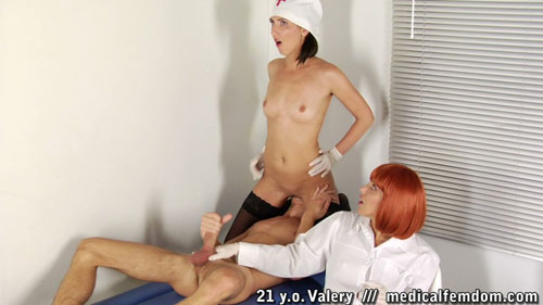Femdom medical facesitting and nurse handjob