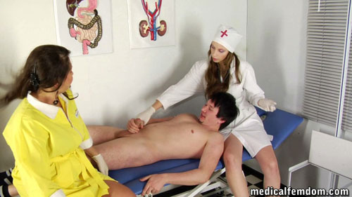 CFNM nurse handjob at a medical femdom exam