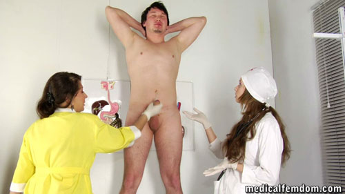 Medical femdom milking of a nude submissive guy