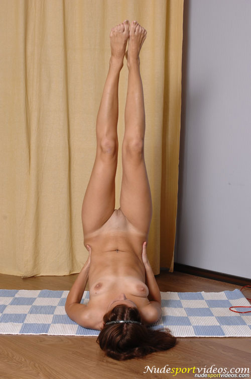 Shaved pussy in the amateur nude yoga shoulderstand