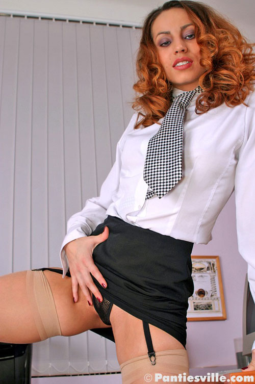 Fishnet secretary upskirt and nude stockings
