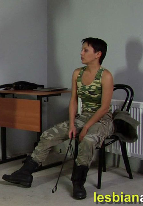 Mature lesbian army officer Elena A. and a teen soldier