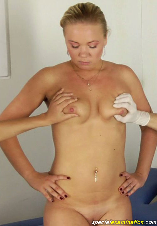 Double breast exam of nude medical fetish girl Irina S.