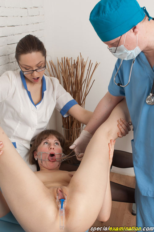 Dental retractor and speculum play at the medical bdsm exam
