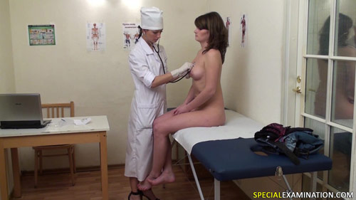 Nude girl passes a routine medical exam
