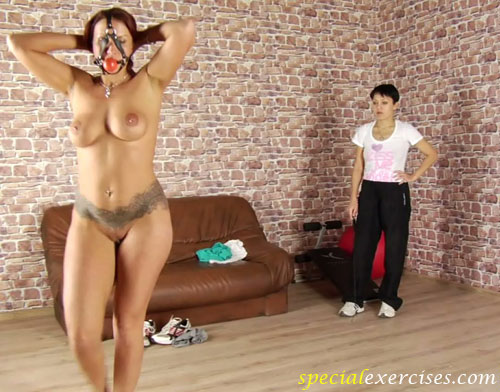 Nude sport jogging in the face harness by a busty fitness slave