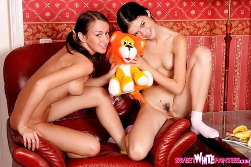 Young naked girls share their first sex toy