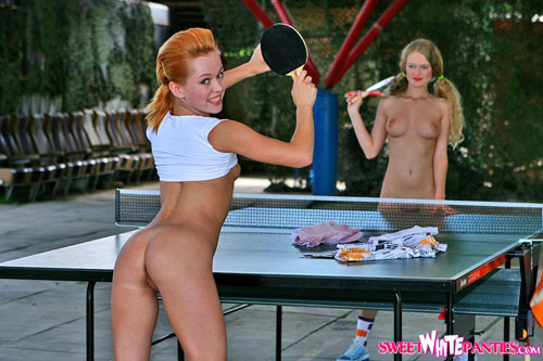Naked babes play outdoor ping-pong