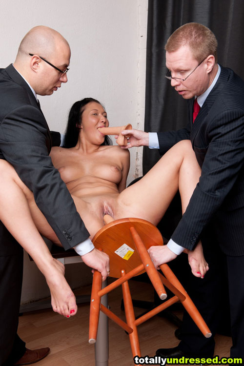 Big-boobed secretary toy fucked at the maledom job interview