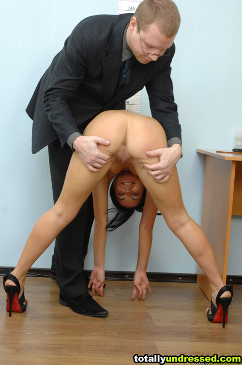 Dirty office maledom towards a flexible nude girl in high heels