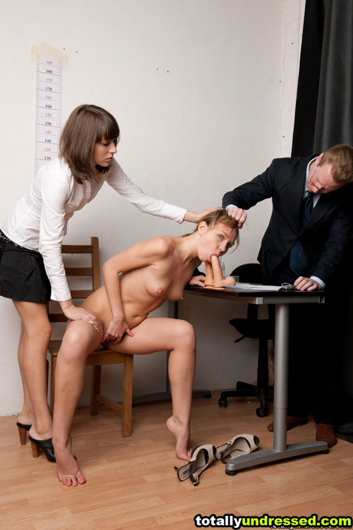 Office maledom and lesbian control of dildo BJ of a nude secretary
