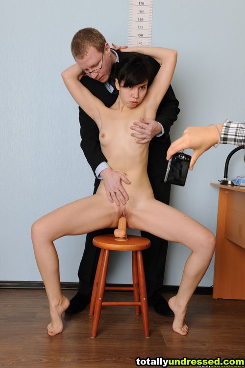Fetish dildo riding at a totally undressed job interview
