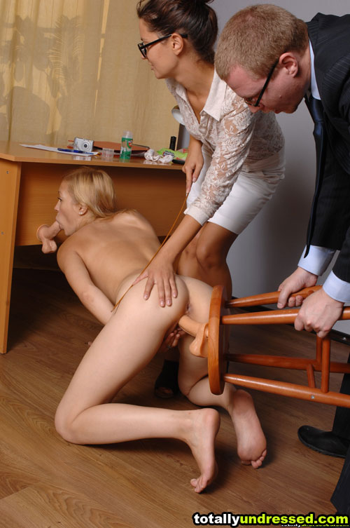 Submissive job candidate knelt and DPed with dildos