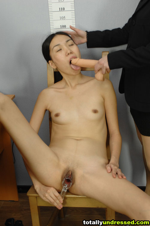 Gyno exam and BJ job interview of a totally undressed Asian girl