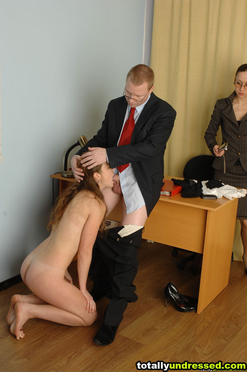 Knelt nude office cock sucking at the sex job interview